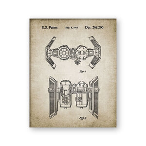Star Wars Ship Patent Canvas Painting