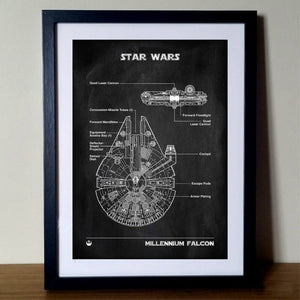 Millennium Falcon Blueprint Canvas Painting