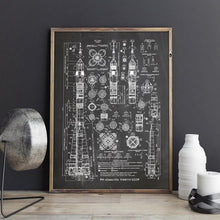 Load image into Gallery viewer, Soyuz Rocket Blueprint Wall Art - spaceexploration