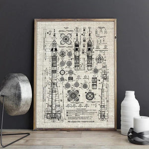 Soyuz Rocket Blueprint Wall Art - spaceexploration