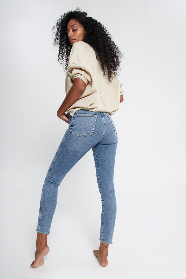 BEST SELLER: Raw High Rise Jegging by Free People (3 Colors) Wild Bohemian Sierra Blue (MIDWASH) 27