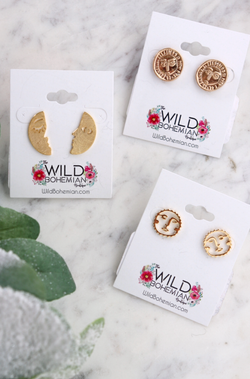Moon & Sun Face Earrings (gold plated) Earrings Wild Bohemian