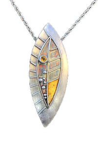 Leaf with Citrine and Gold Keum Boo