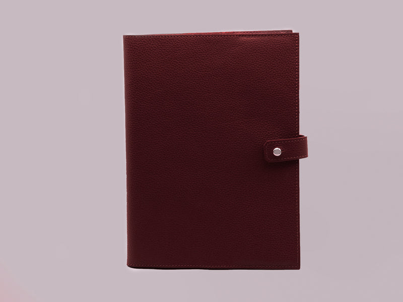 Couverture de cahier A5 en cuir grainé bordeaux made in France