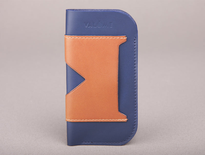 Etui iPhone - Bleu marine & Gold
