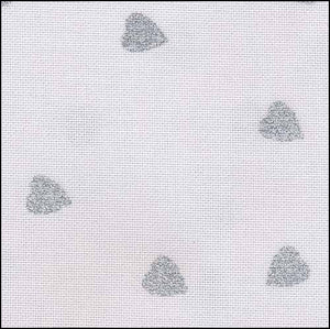 Silver Glitter Hearts - 32 count - Fat Quarter