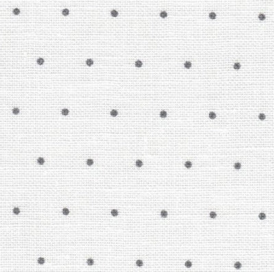 White with Grey Mini Dots Edinburgh Linen - 36 count