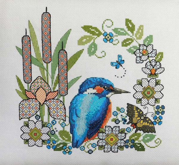 Blackwork Iris and Kingfisher