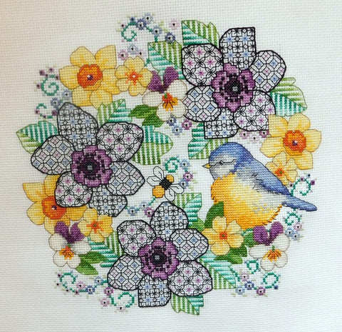 Blackwork Anemones and Blue-Tit