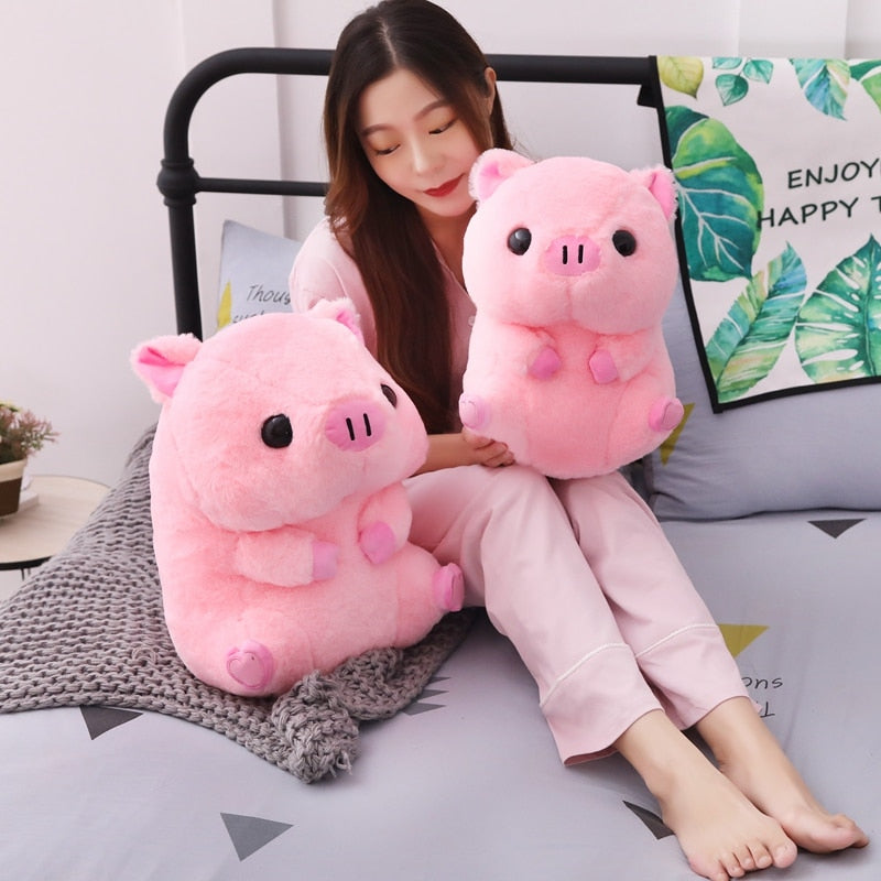 Pink Stuffed Sleeping Piggy Plushie (40cm)