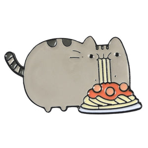 Fluffy Cat Eating Noodles Brooches