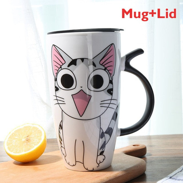 Excited Cat Ceramic Mug With Lid (600ml)