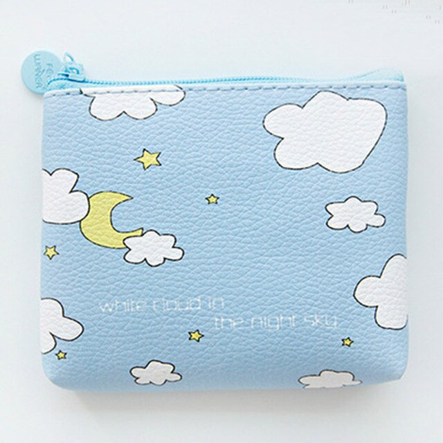 Night Sky Cute Line Zipper Wallet