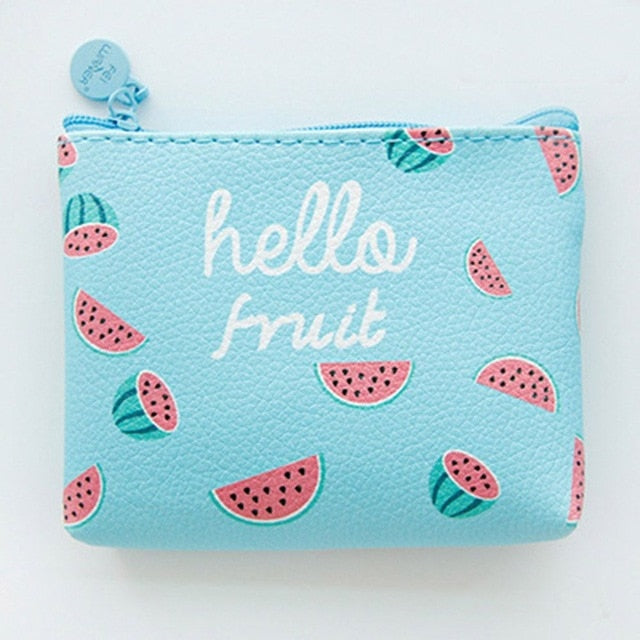 Water Mellon Cute Line Zipper Wallet