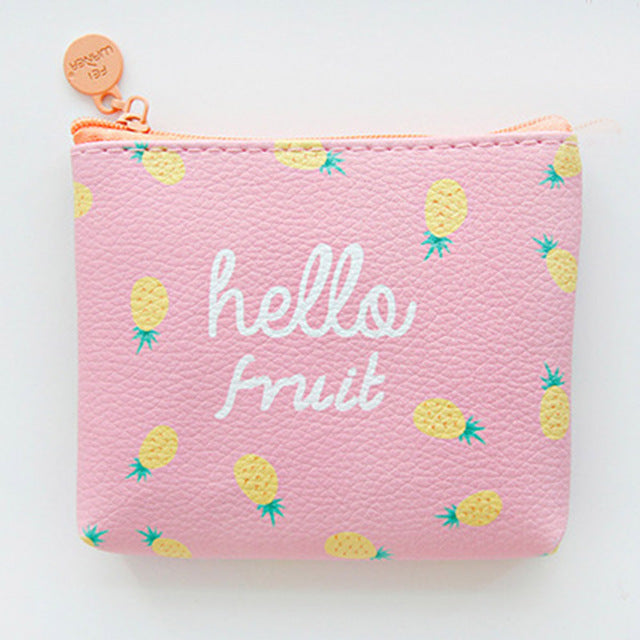Hello Fruit Cute Line Zipper Wallet