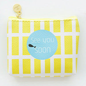 Yellow Cute Line Zipper Wallet