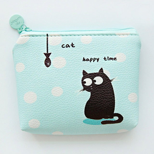 Happy time Cat Cute Line Zipper Wallet
