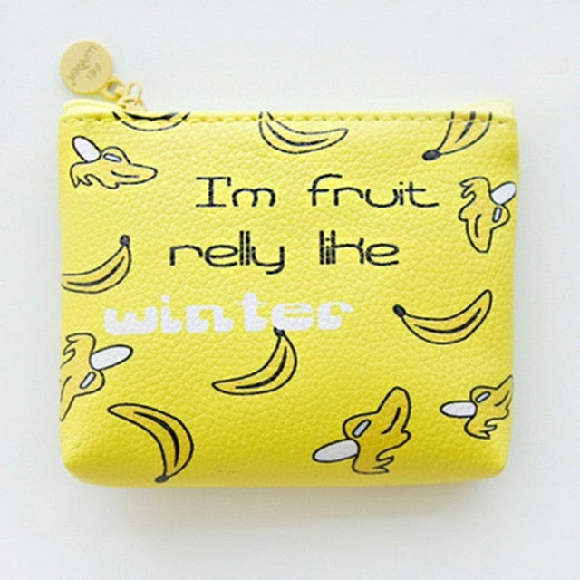 Banana Cute Line Zipper Wallet
