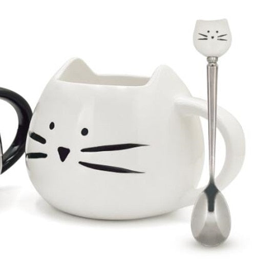 White Cat Mug With Spoon (400ml)
