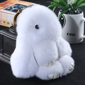 white Bunny Stuffed Fluffy Key Chain (14cm)