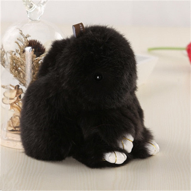 black Bunny Stuffed Fluffy Key Chain (14cm)