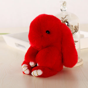 red Bunny Stuffed Fluffy Key Chain (14cm)