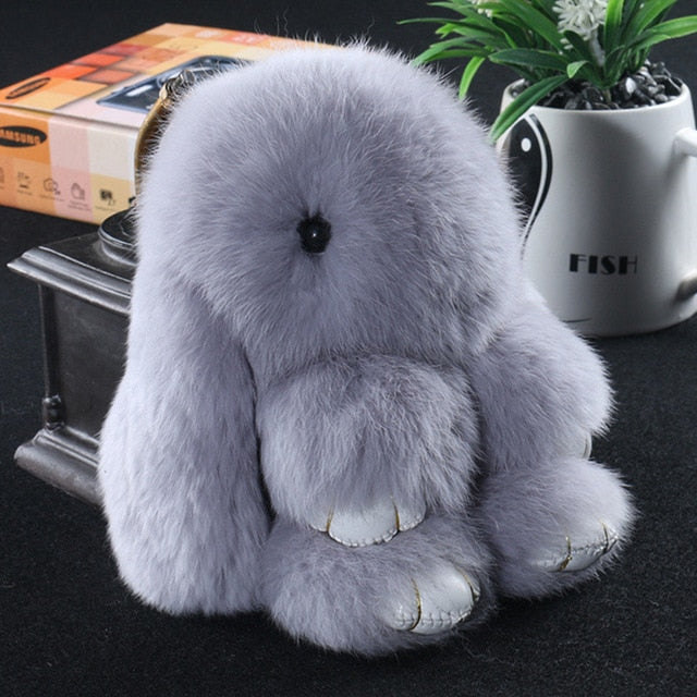 gray Bunny Stuffed Fluffy Key Chain (14cm)