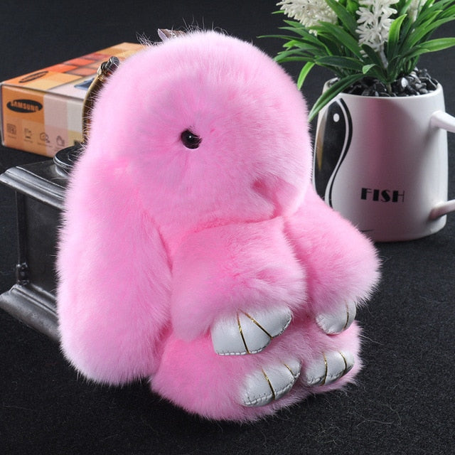 pink Bunny Stuffed Fluffy Key Chain (14cm)