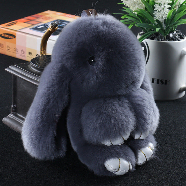 Deep gray Bunny Stuffed Fluffy Key Chain (14cm)