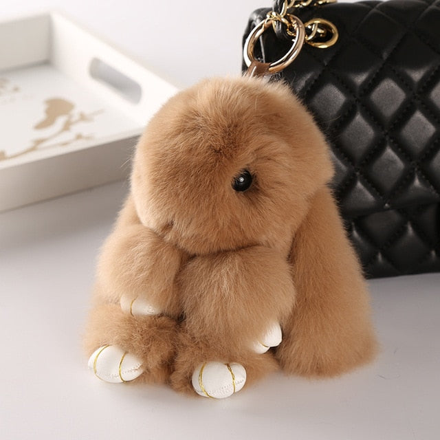 Khaki Bunny Stuffed Fluffy Key Chain (14cm)