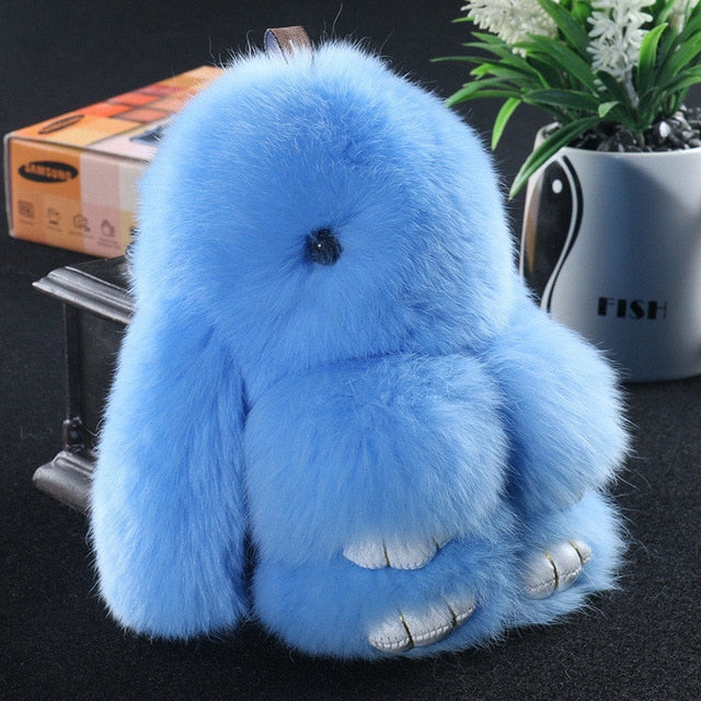 Light blue Bunny Stuffed Fluffy Key Chain (14cm)