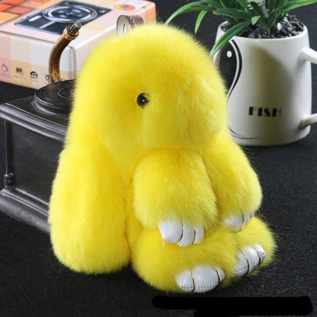 Yellow Bunny Stuffed Fluffy Key Chain (14cm)