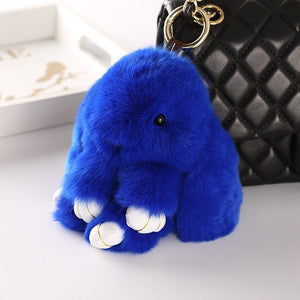 Dark blue Bunny Stuffed Fluffy Key Chain (14cm)