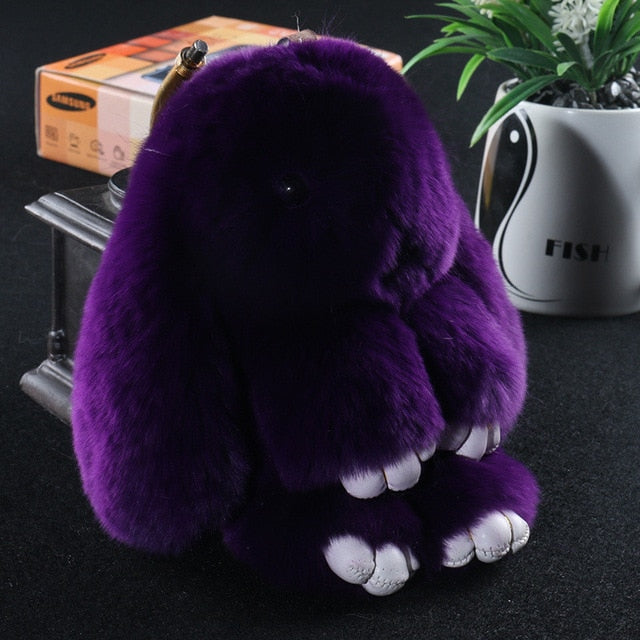 Dark purple Bunny Stuffed Fluffy Key Chain (14cm)