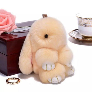 Beige Bunny Stuffed Fluffy Key Chain (14cm)