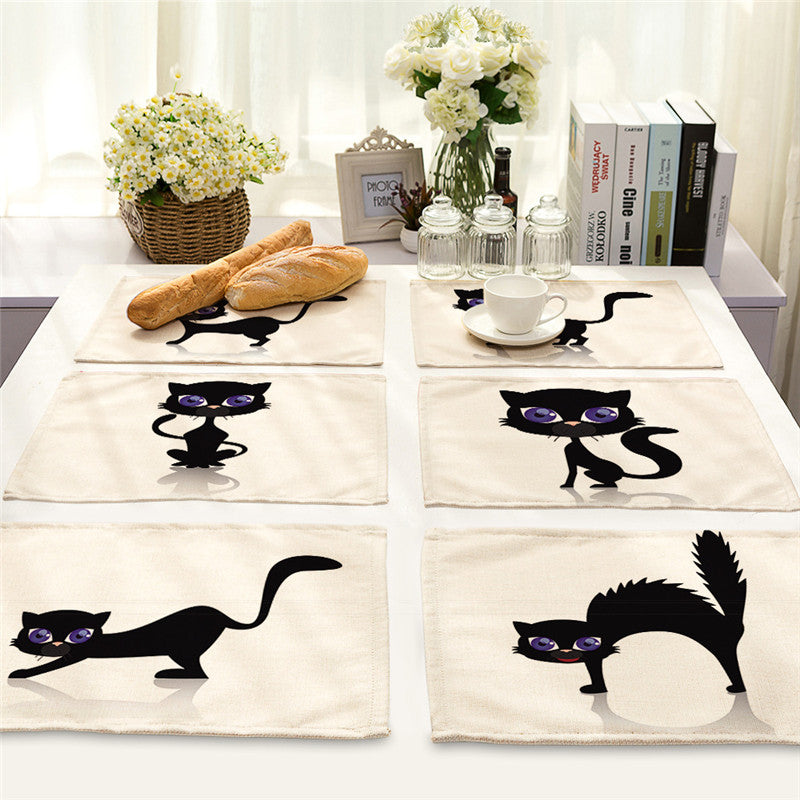 Cute Black Cat Dining Table Mats