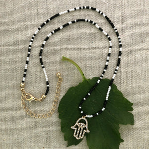Black and White Hamsa Necklace