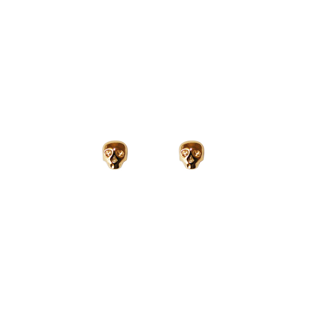 Mini Skull Stud Earrings - Gold