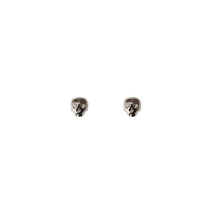 Mini Skull Stud Earrings- Silver