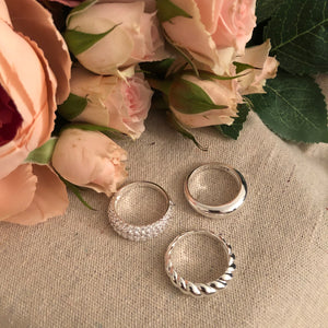 Set of Three- Dome Rings in Silver