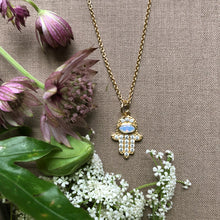 "Load image into Gallery viewer, Hamsa Charm on a 16"" chain"