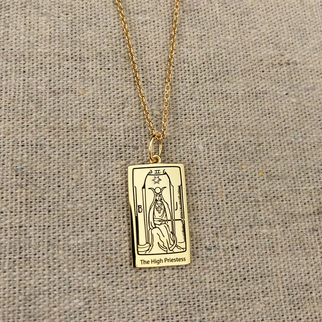 The High Priestess Tarot Charm with necklace