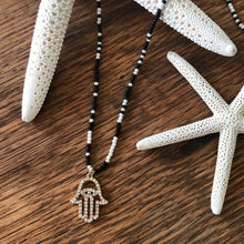 Load image into Gallery viewer, Black and White Hamsa Necklace
