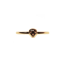 Load image into Gallery viewer, Mini Memento Mori Skull Stacking Ring - Gold