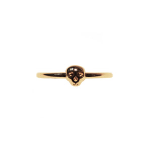Mini Memento Mori Skull Stacking Ring - Gold