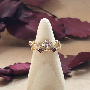 Templar Stacking Ring in 14K Gold  - Ruby