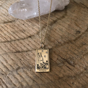 The Magician Tarot Charm on a chain necklace