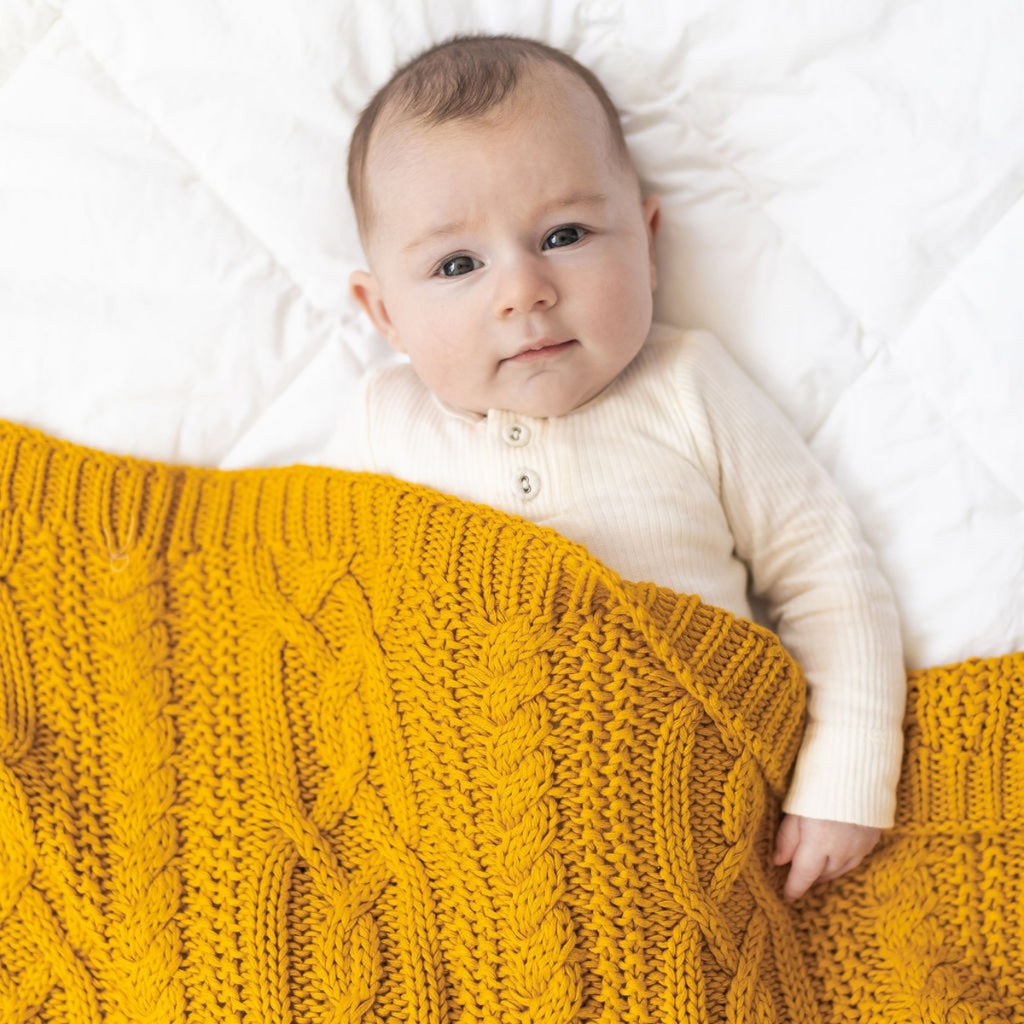 Reilly Cable Knit Blanket - Mustard