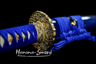 tsunami kashirae japanese samurai katana clay tempered folded steel blade sword razor sharp #HM0051 - hanma-sword