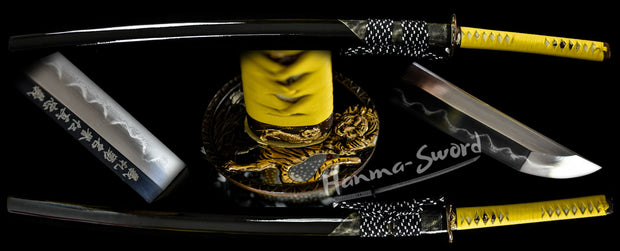 clay tempered Damascus steel blade japanese samurai katana tiger guard sword razor sharp #HM0009 - hanma-sword